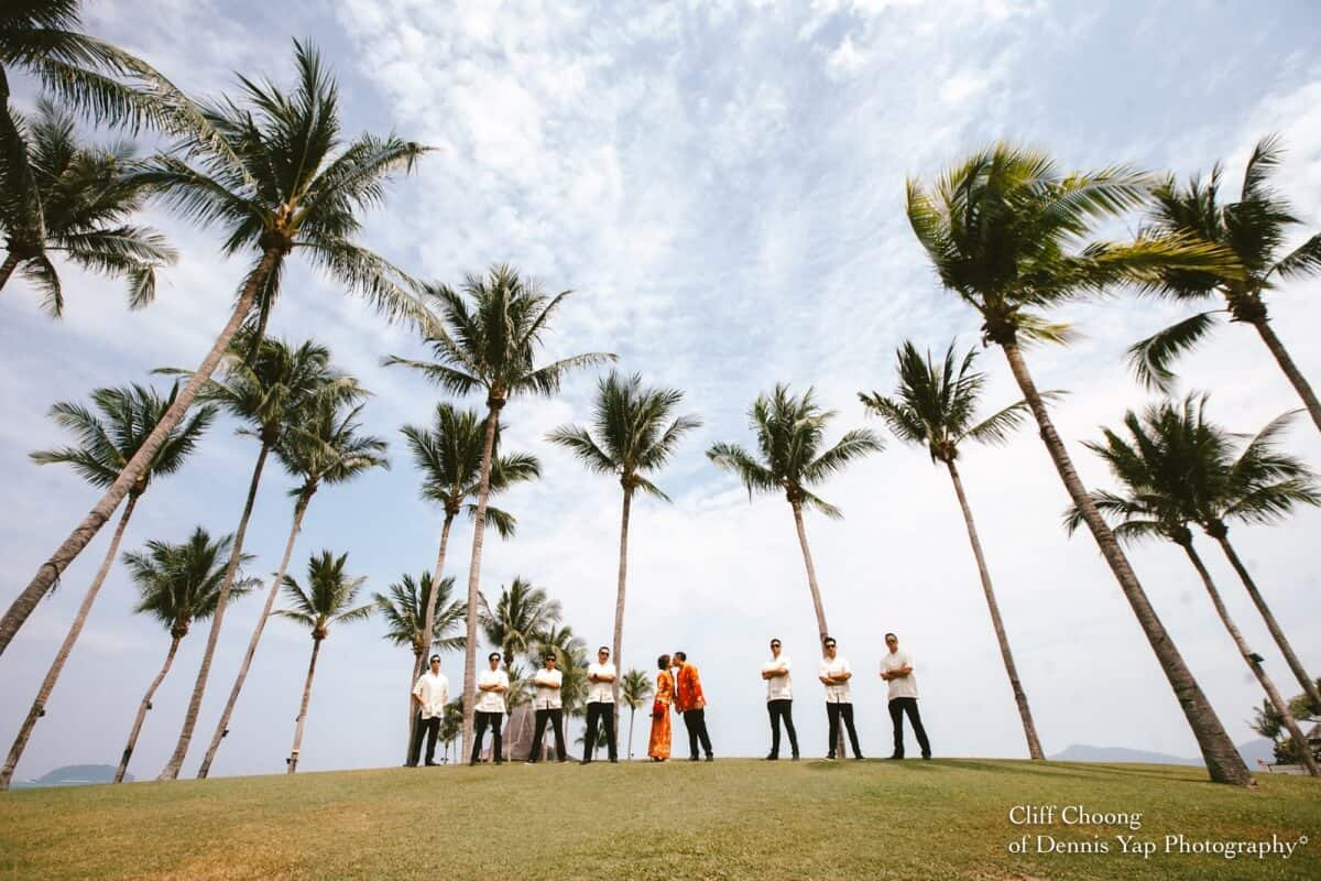 Wedding Day in Kota Kinabalu Sabah Malaysia Shangri-La Tanjung Aru Resort and Spa Cliff Choong Photography groom bride entourage