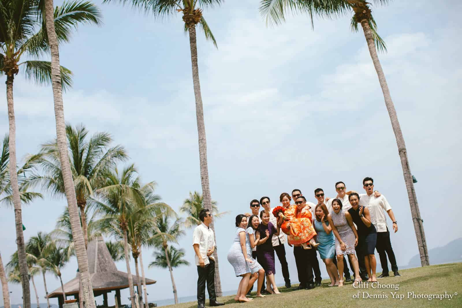 Wedding Day in Kota Kinabalu Sabah Malaysia Shangri-La Tanjung Aru Resort and Spa Cliff Choong Photography groom bride entourage bridal party