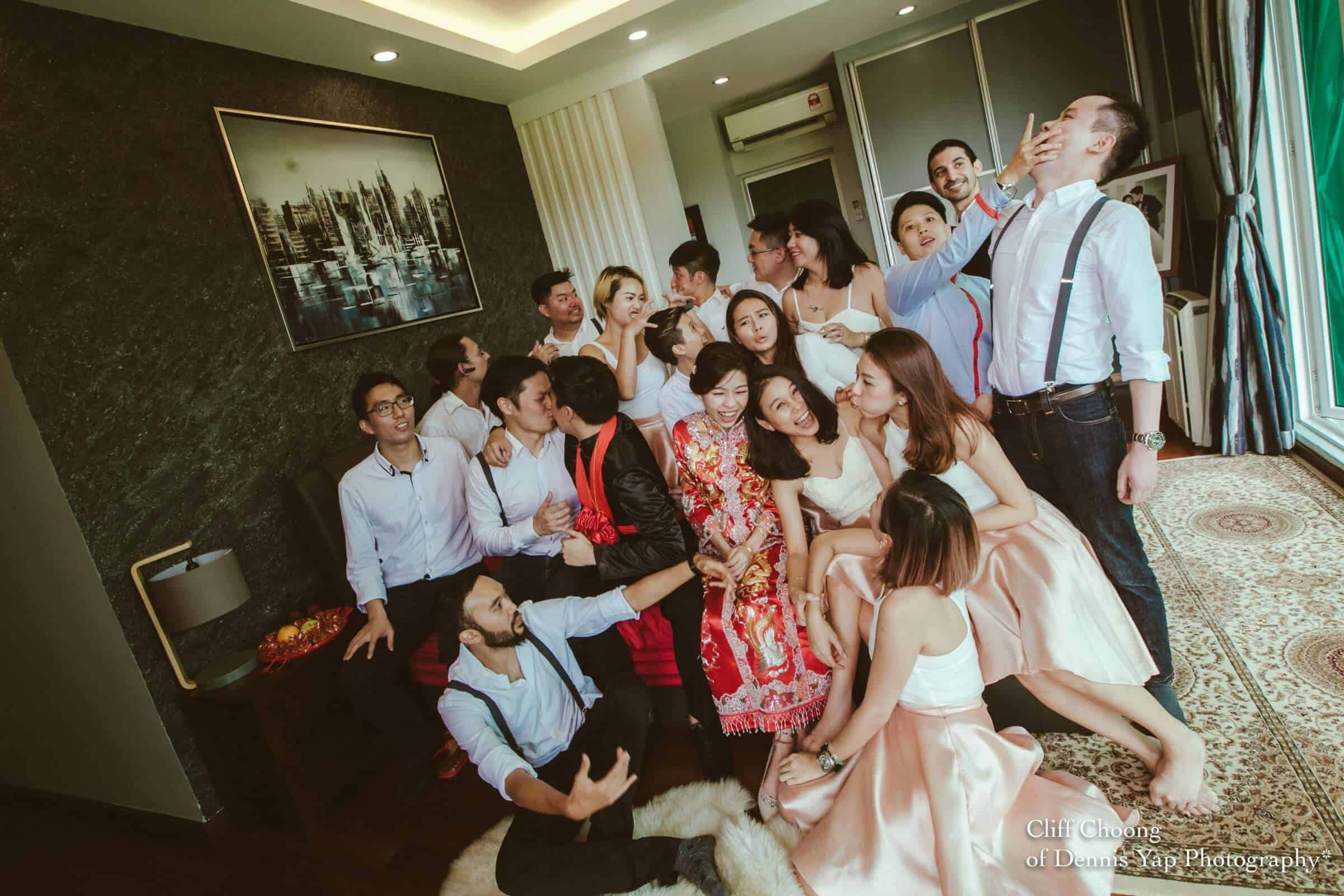 Wedding day in Kuala Lumpur Kota Kemuning Malaysia Cliff Choong Photography actual day Tea Ceremony red chinese traditional