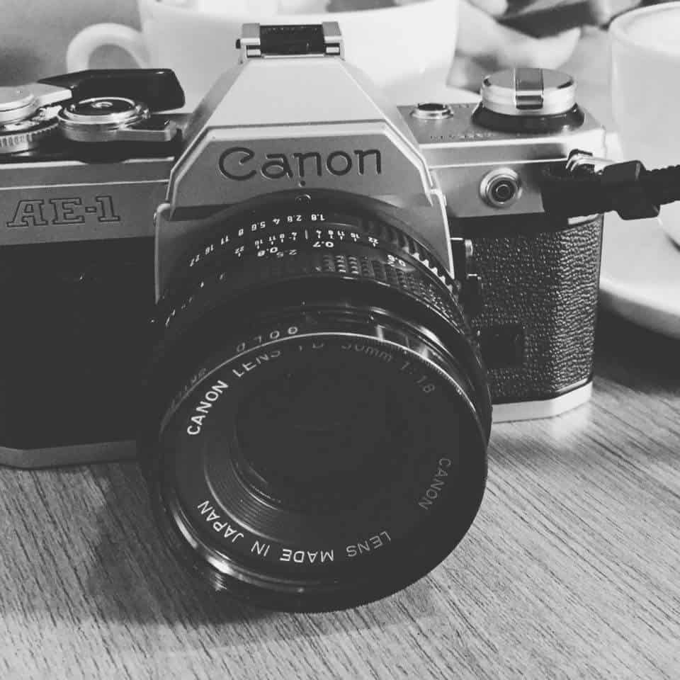 SLR Canon AE-1 fil camera vintage black and white manual camera