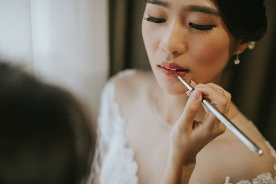 fairy tail beautiful wedding gown dress Malaysia Classic Simple elegant Wedding St. Andrew Church Kuala Lumpur Cliff Choong Photography bride bridesmaids groom getting ready makeup lips red white