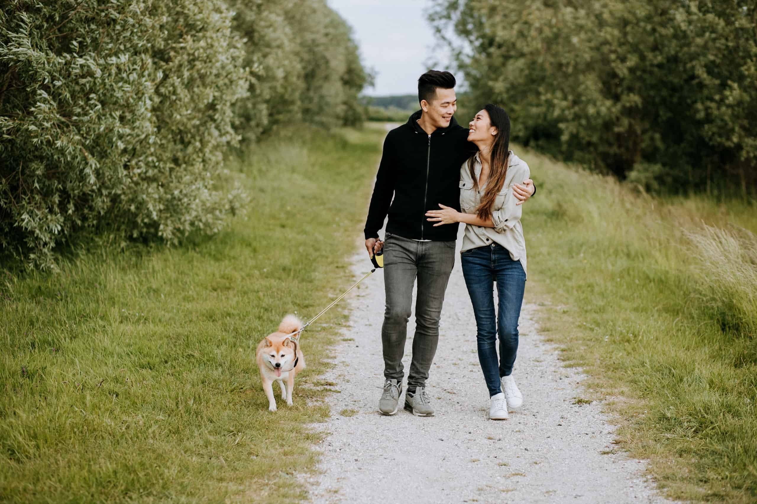 South Holland Rotterdam Netherlands Couple Portrait Walking Dog