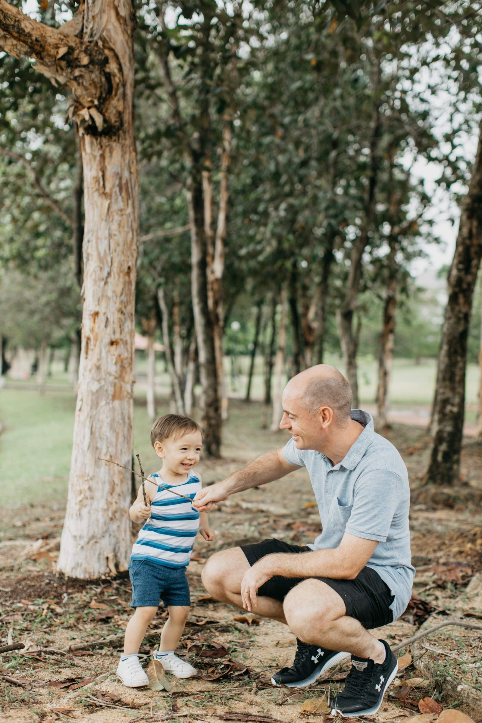 Cute little boy with daddy Damansar Tropical Family Portrait Session in Kuala Lumpur Malaysia