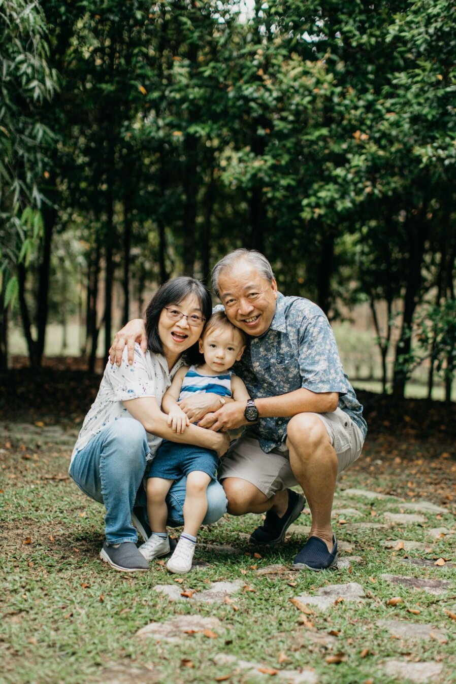 Cute little boy with grandpa and grandma Damansar Tropical Family Portrait Session in Kuala Lumpur Malaysia