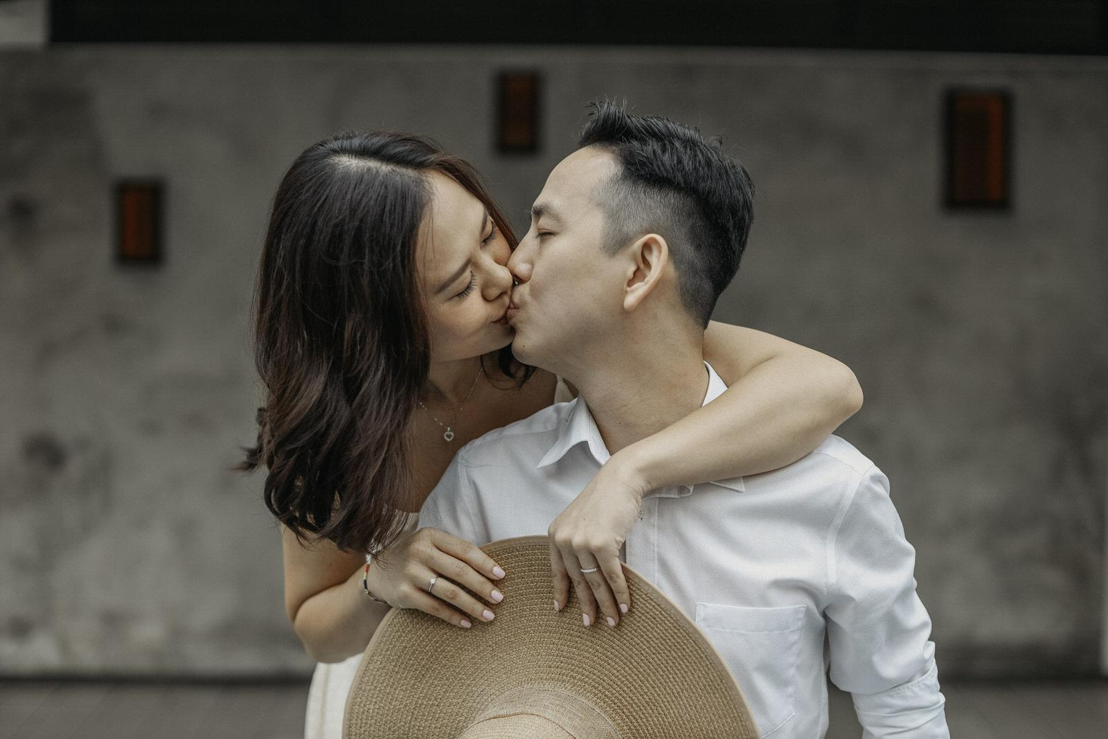 Couple Kissing Fun Love Portrait in the Beautiful Kuala Lumpur Cliff Choong Photography