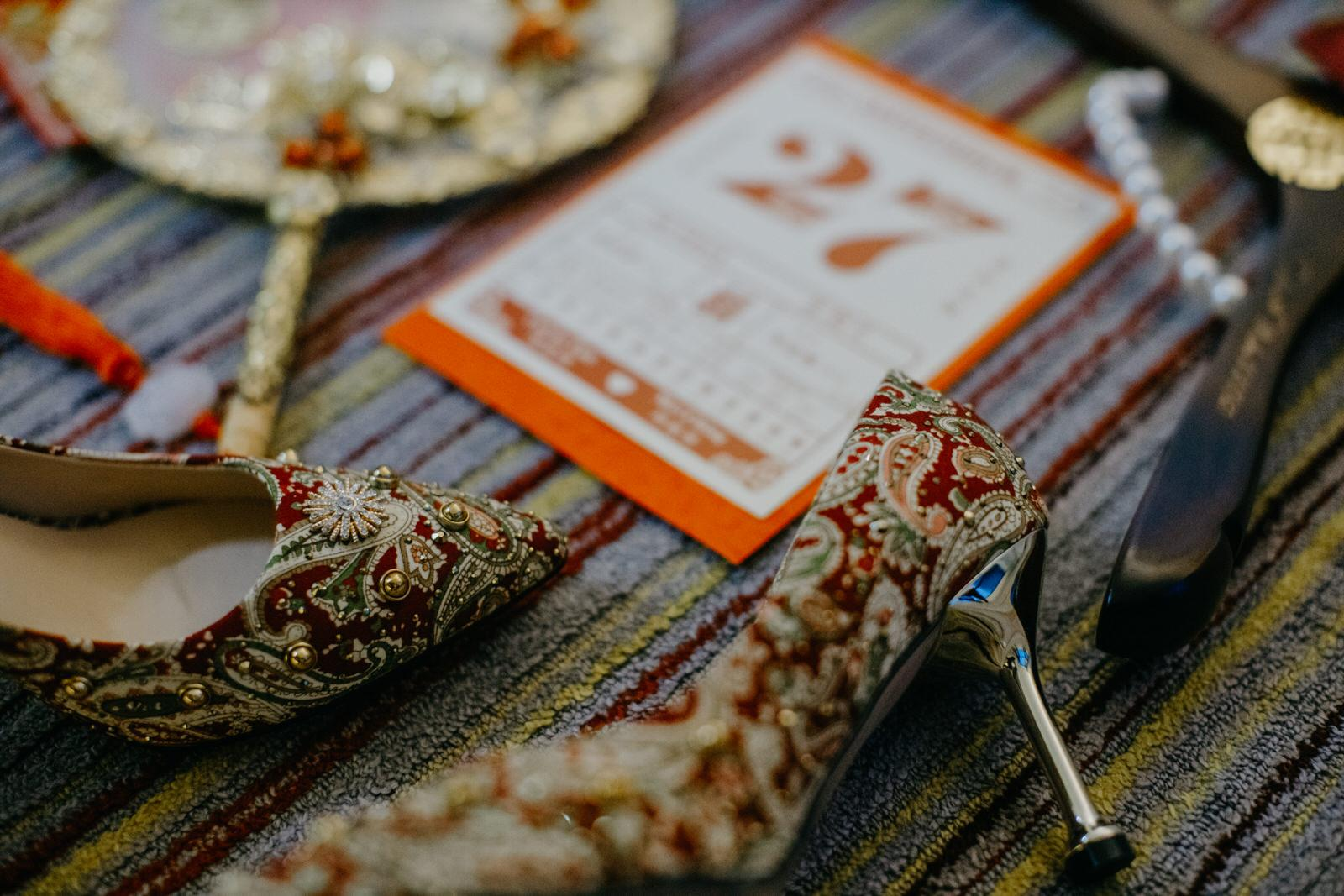 Chinese Wedding Details Bridal Shoes Red Fan Wedding in Kuala Lumpur