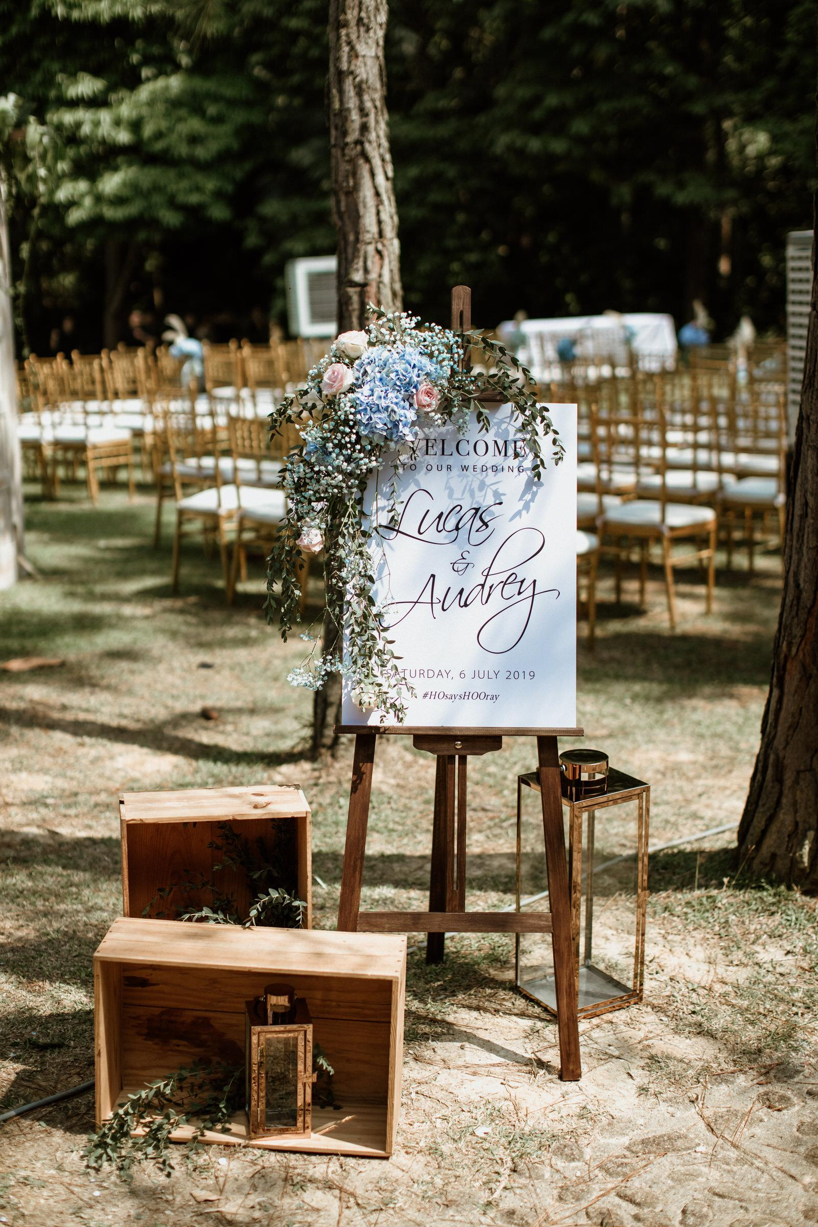 Tanarimba Rustic Garden Weding Janda baik Decoration wooden chair reserved note Cliff Choong Photography