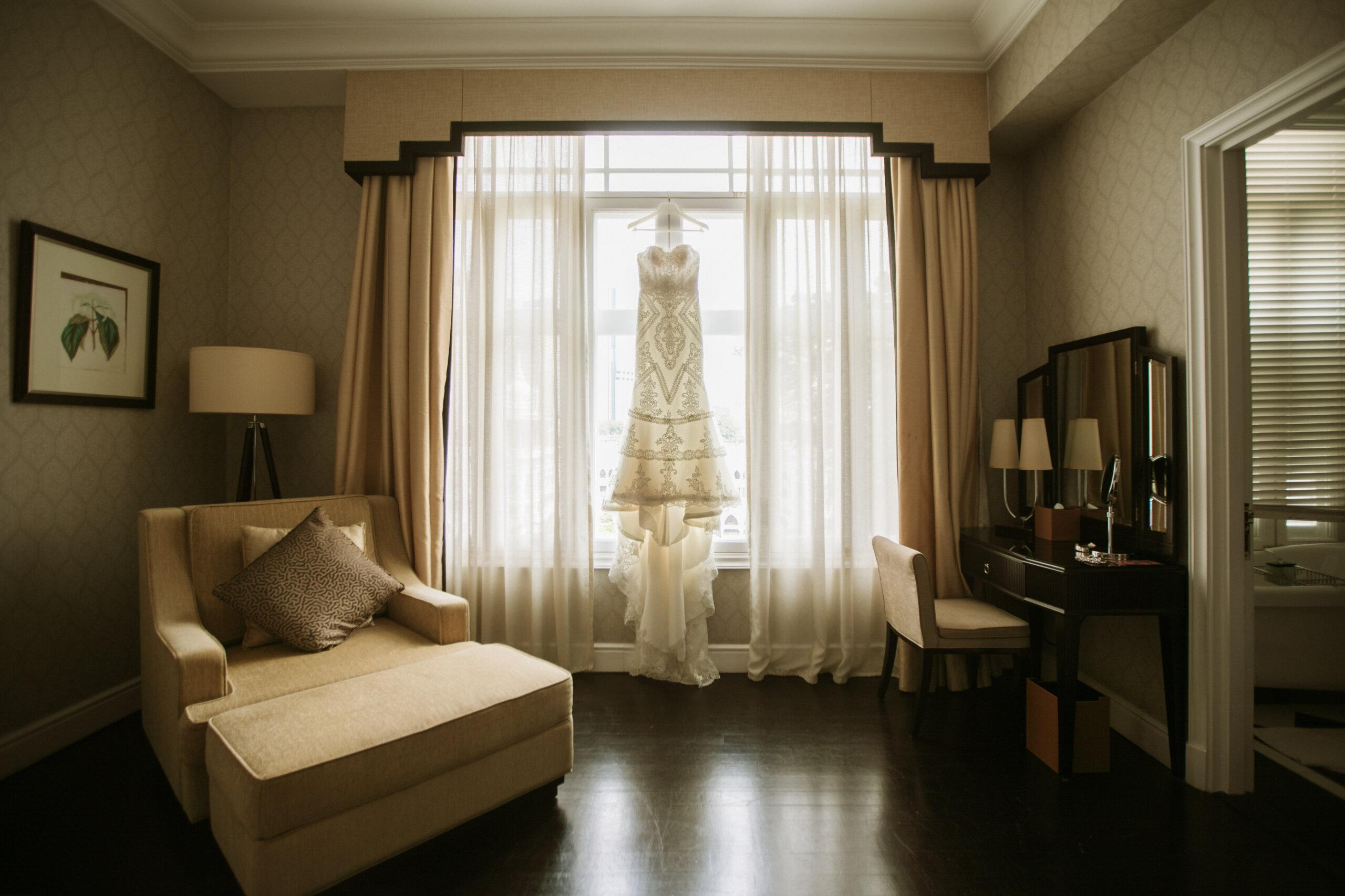 bridal dress hanging actual day The Majestic Hotel Kuala Lumpur Cross cultural wedding japnese malaysian