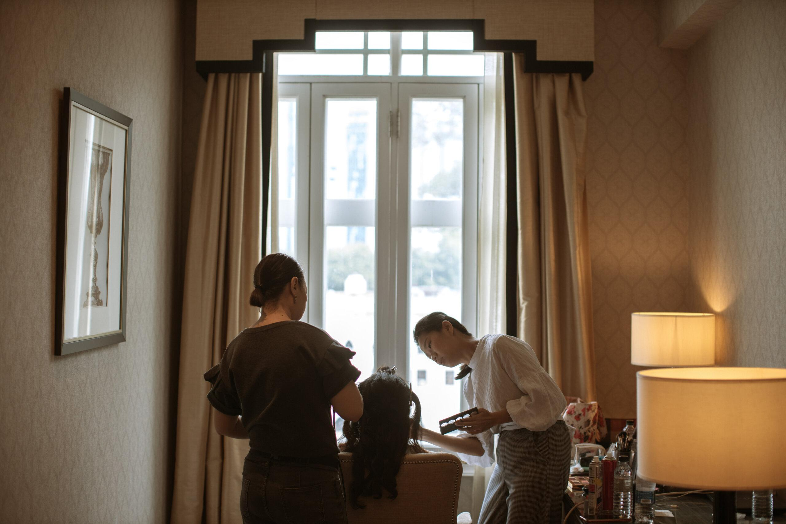bride getting ready actual day The Majestic Hotel Kuala Lumpur Cross cultural wedding japnese malaysian