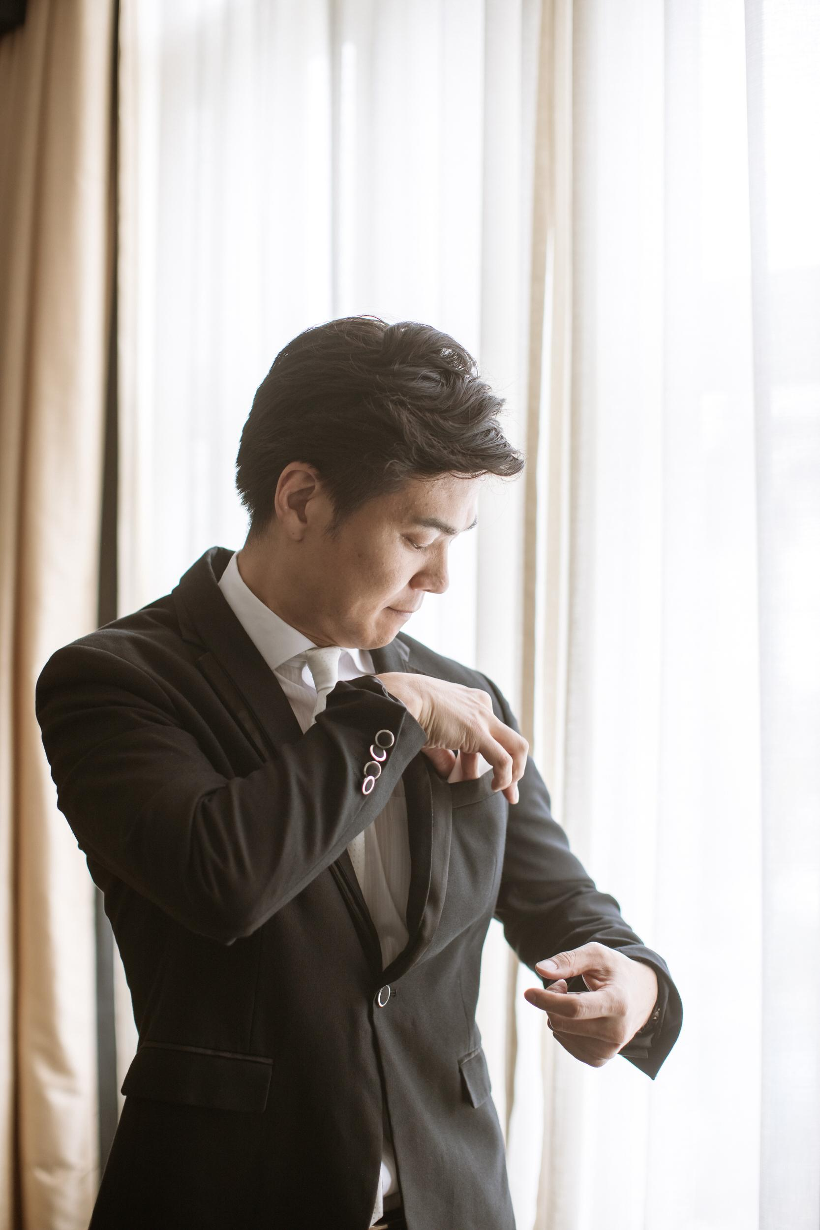 japanese groom getting ready from Tokyo actual day The Majestic Hotel Kuala Lumpur Cross cultural wedding japnese malaysian