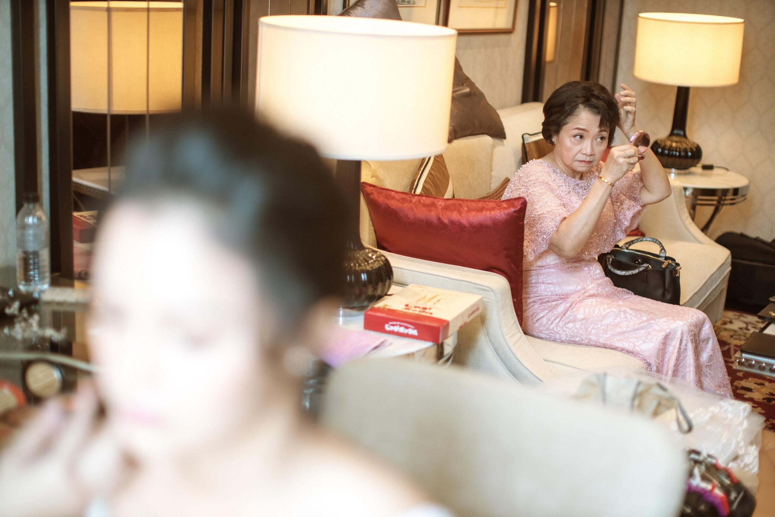 mother of bride getting ready actual day The Majestic Hotel Kuala Lumpur Cross cultural wedding japnese malaysian