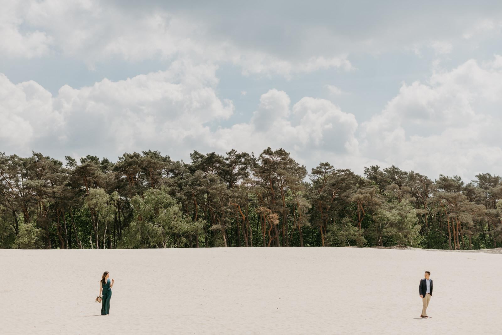 Engagement photo Enchanting Couple Love Portrait Session in the Desert of Holland Loonse en Drunense Duinen National Park Netherlands Rotterdam Cliff Choong Photography Malaysia Destination Wedding Photographer