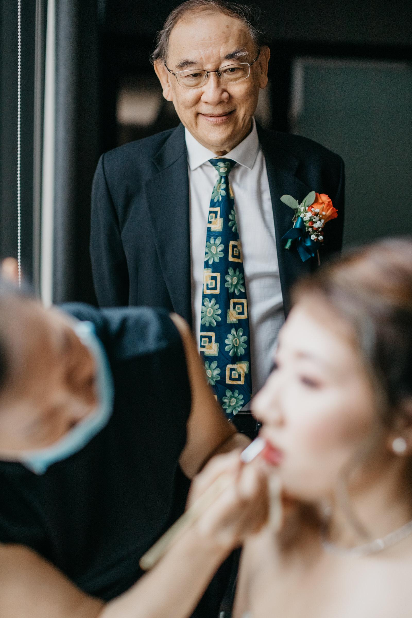 Daddy Girl A Rooftop Poolside Wedding at Hotel Stripes Kuala Lumpur MCO2.0 Cliff Choong Photography Malaysia Covid19 ROM Bride Make Up Getting Ready