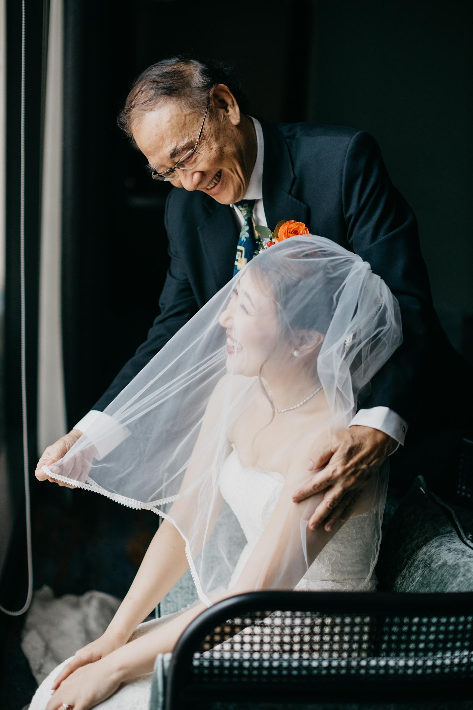 Father Vieling on Bride A Rooftop Poolside Wedding at Hotel Stripes Kuala Lumpur MCO2.0 Cliff Choong Photography Malaysia Covid19 ROM Bride Make Up Getting Ready