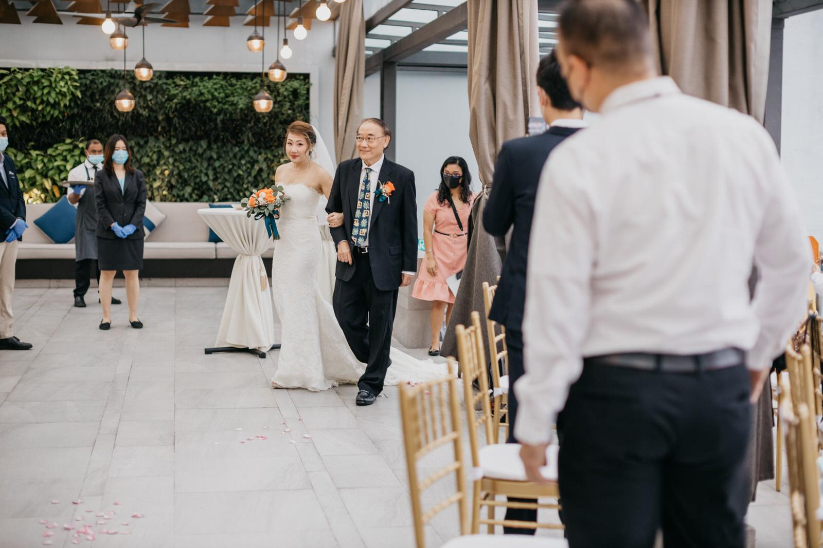 Father & Bride March In Boho Deco Rooftop Poolside Wedding at Hotel Stripes Kuala Lumpur MCO2.0 Cliff Choong Photography Malaysia Covid19 ROM
