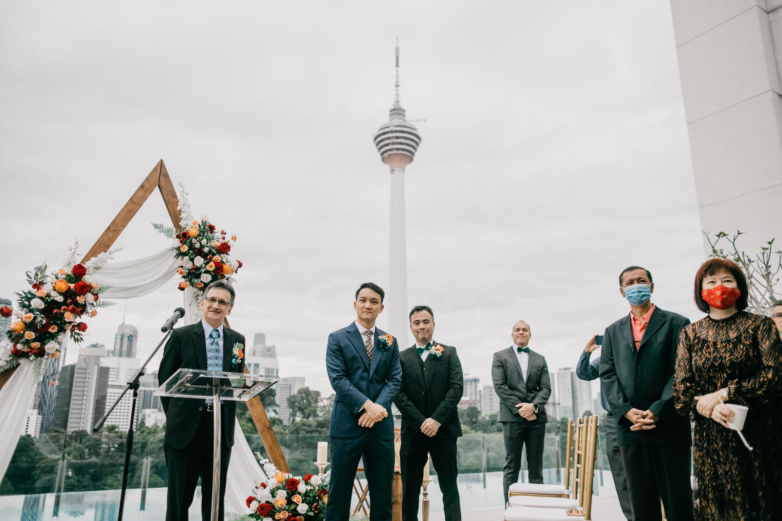Groom waiting for Father & Bride March In Boho Deco Rooftop Poolside Wedding at Hotel Stripes Kuala Lumpur MCO2.0 Cliff Choong Photography Malaysia Covid19 ROM