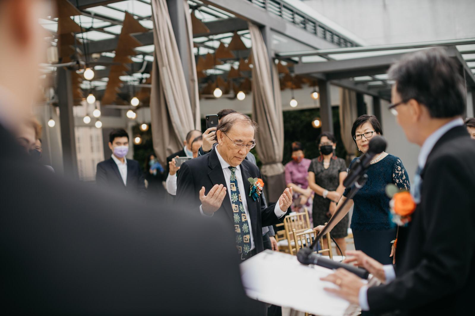 Prayer Christian Wedding Ceremony Father & Bride March In Boho Deco Rooftop Poolside Wedding at Hotel Stripes Kuala Lumpur MCO2.0 Cliff Choong Photography Malaysia Covid19 ROM