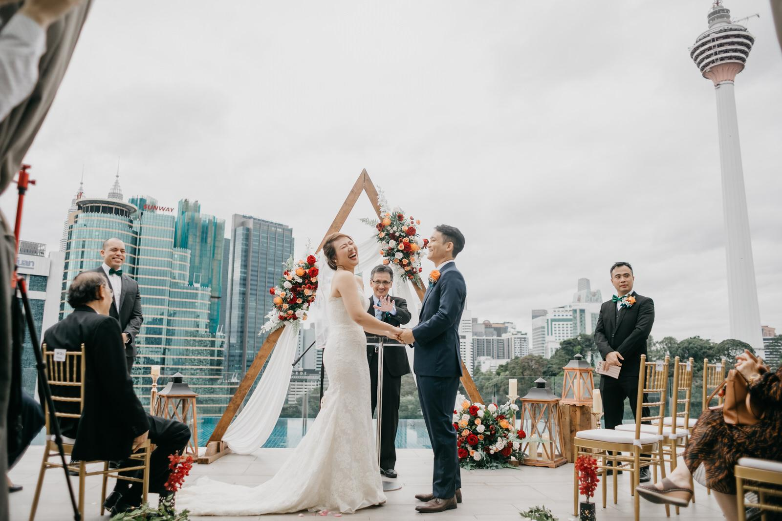 Vow Rings Exchange Boho Deco Rooftop Poolside Wedding at Hotel Stripes Kuala Lumpur MCO2.0 Cliff Choong Photography Malaysia Covid19 ROM
